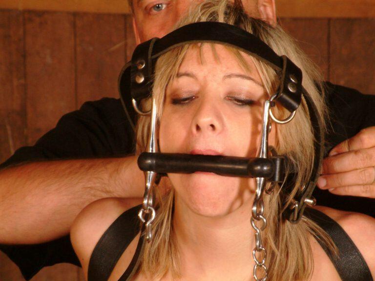 Ponygirl bondage training in stockings